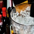 Red wine on ice — Stock Photo