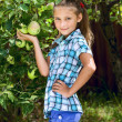 Young girl in an apple orchard — Stock Photo #26299587