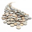 The curvilinear trajectory of the coins — Stock Photo