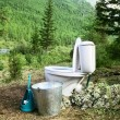 Stock Photo: Ceramic new toilet in woods