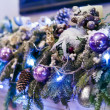 Christmas tree decorated with toys — Stok fotoğraf