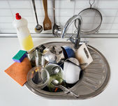 Pile of dirty dishes — Stock Photo