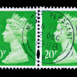 Two old postage stamps with Portrait of Queen Elizabeth — Stock Photo #35400475