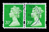 Two old postage stamps with Portrait of Queen Elizabeth — Stock Photo