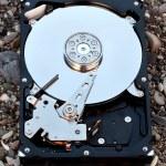 View of hard drive inside closeup — Stock Photo
