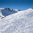 Stock Photo: Traces of skiers in mountains