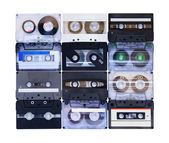 Collection of various vintage audio tapes — Stok fotoğraf