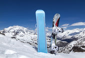 Two snowboard standing upright in snow — Stock Photo