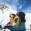 Two Beautiful woman at ski resort — Stock Photo