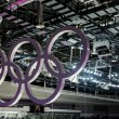 Olympic rings hanging in the ceiling — Stock Photo