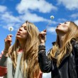 Two young woman are blowing on dandelions — Stock Photo