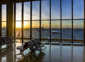 Silhouettes of interior in the airport  — Stock Photo