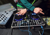 Dj playing the track and shows middle finger — ストック写真