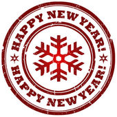 Happy new year stamp — Stock Photo