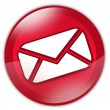 Red email button — Stock Photo