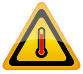 High temperature vector warning sign — Stock Vector