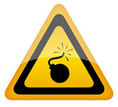 Bomb vector warning sign, — Stock Vector