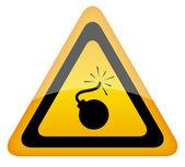 Bomb vector warning sign, — Stock Vector