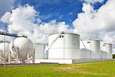 Oil refinery tanks — Stock Photo