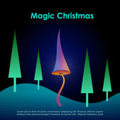 Magic christmas card — Stock Vector
