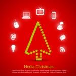 Media christmas vector card — Stock Vector