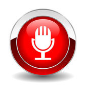 Vector microphone button — Stock Vector