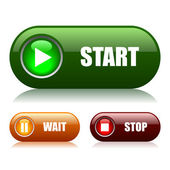 Start and stop vector buttons — Stock Vector