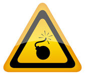 Bombe-warnschild — Stockfoto