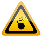 Bomb warning sign — Stockfoto