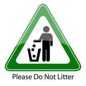 Do not litter vector sign — Stock Vector