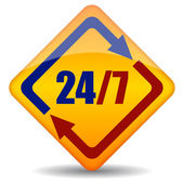 Vector twenty four seven open sign — Stock Vector