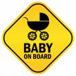 Stock Vector: Baby on board vector sign