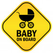 Baby on board vector sign - Vettoriali Stock