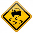 Vector slippery road sign - Stock Vector