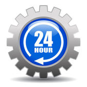 24 hour service gear icon — Stock Vector