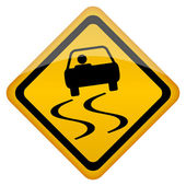 Vector slippery road sign — Stock Vector