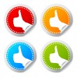 Thumb up stickers set - Stock Vector