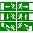 Vector emergency exit signs set — Stock Vector
