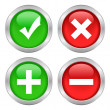 Stock Vector: Permission buttons set