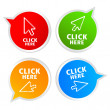 Stock Vector: Click here stickers