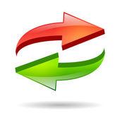 Refresh glossy icon — Stock Vector