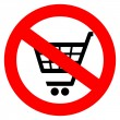 No shopping cart sign — Stock Vector