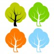 Vector trees set — Stock Vector
