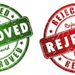 Approved and rejected stamps — Stock Photo