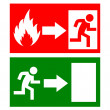 Vector fire exit signs — Stock Vector