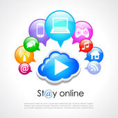 Stay online vector poster — Stock Vector