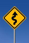 Cartello stradale curvy — Foto Stock