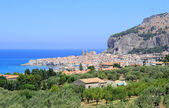 Cefalu townscape from the hills — Stock Photo
