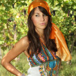 Stock Photo: Attractive gypsy style womin vineyard