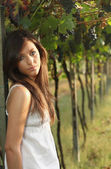 Romantic portrait in a vineyard — Stock Photo